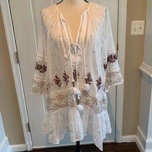 Free people white boho dress with tassels sz L